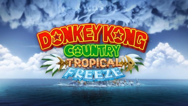 Donkey Kong Country: Tropical Freeze Logo With Storm Background