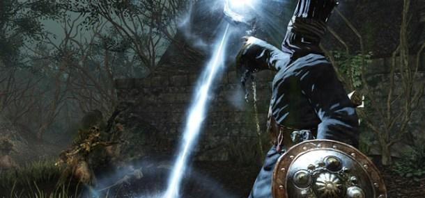 Dark Souls II Sorcerer Attacking Skeleton