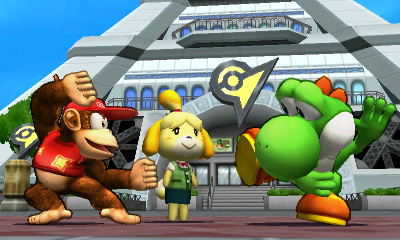 Diddy Kong and Yoshi with Isabelle at Lumious City - Smashing Saturdays | oprainfall