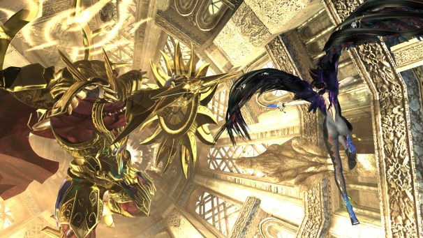 Bayonetta Fighting a Gold-Clad Villain | Bayonetta 2