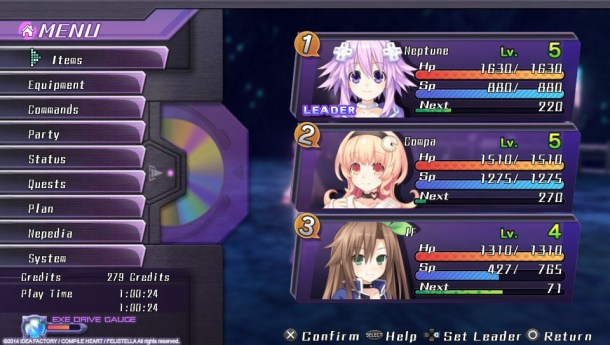 Hyperdimension Neptunia Re;Birth1 | Menu