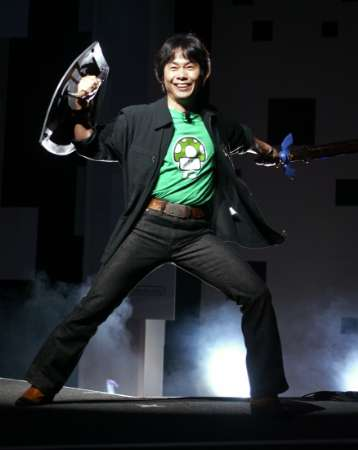 Miyamoto at E3 2004 With Master Sword and Shield