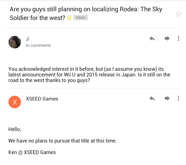 Rodea The Sky Soldier Comments
