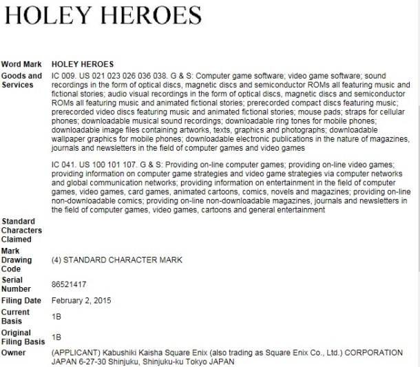 Holey Heroes US Trademark - Possibly Dragon Quest VII?