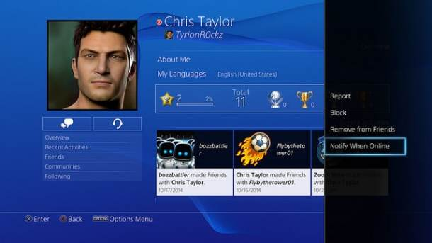 PSN 3.50 Friend Online Notification