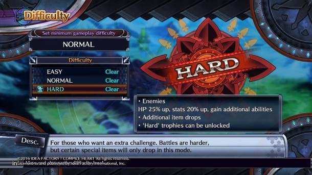 Fairy Fencer F: Advent Dark Force | Difficulty Levels
