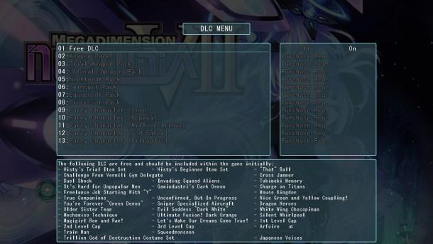 Megadimension Neptunia V-II | DLC Menu