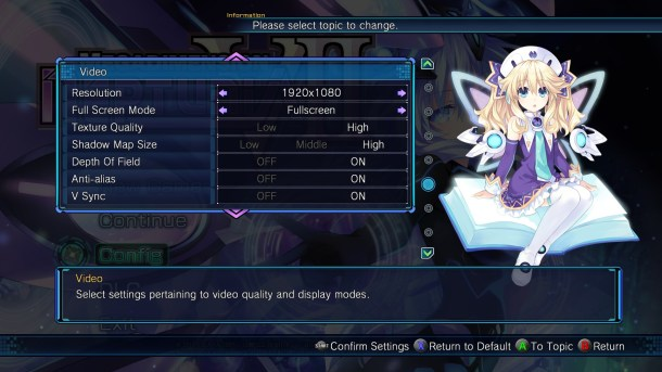 Megadimension Neptunia V-II | Graphic Settings