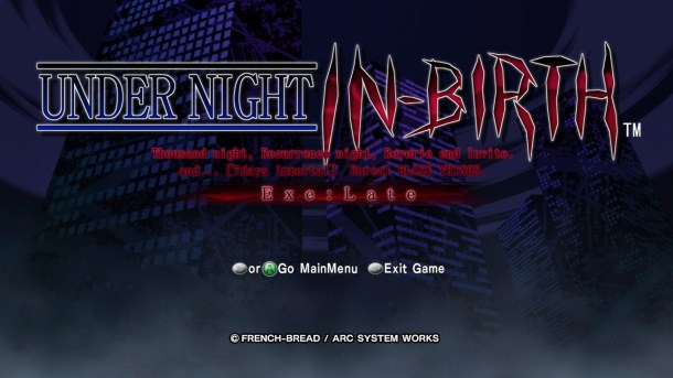 Under Night In-Birth Exe Late Title Screen