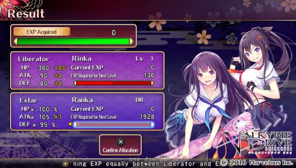 Valkyrie Drive | EXP Screen
