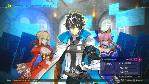 Fate/EXTELLA Link | Servant Select