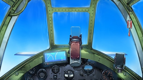 Under One Wing   Cockpit