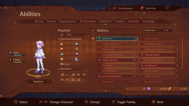 Super Neptunia RPG | Abilities