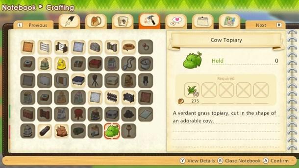 Pioneers of Olive Town | Crafting Menu