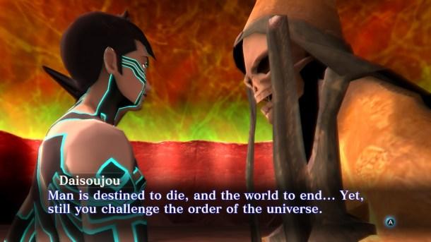 Demon monk Daisoujou confronts the Demi-Fiend
