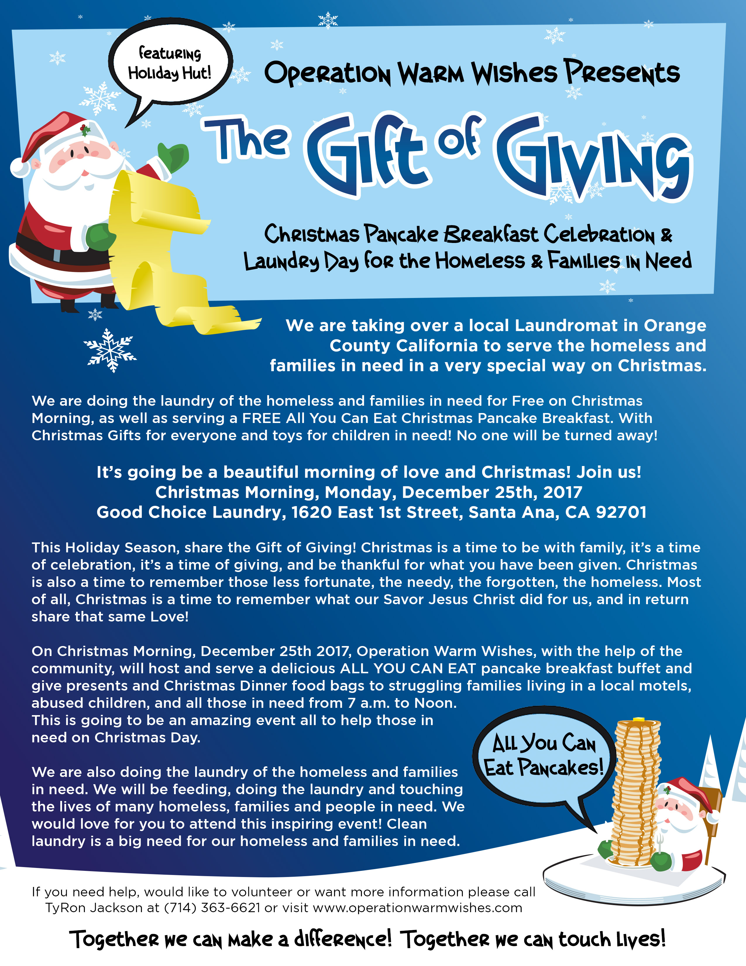 Operation Warm Wishes The Gift Of Giving Christmas Breakfast And Laundry Day Celebration For Our