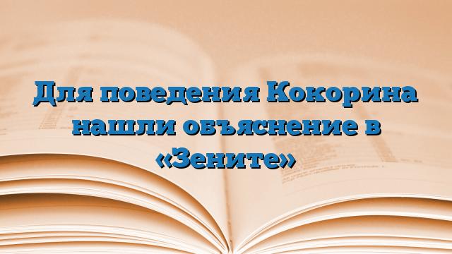 Для поведения Кокорина нашли объяснение в «Зените»