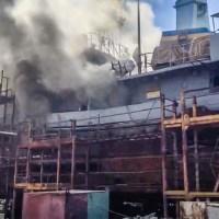 Диверсия или разгильдяйство: на заводе нардепа Новинского горит корабль ВМС Украины