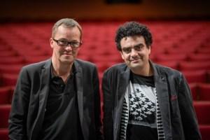 DonPasquale_Villazon_12: Generalintendant Prof. Christoph Meyer und Rolando Villazón bei der Bauprobe im Opernhaus Düsseldorf – FOTO: Andreas Endermann