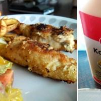paneret kylling med hjemmelavede fritter og salat