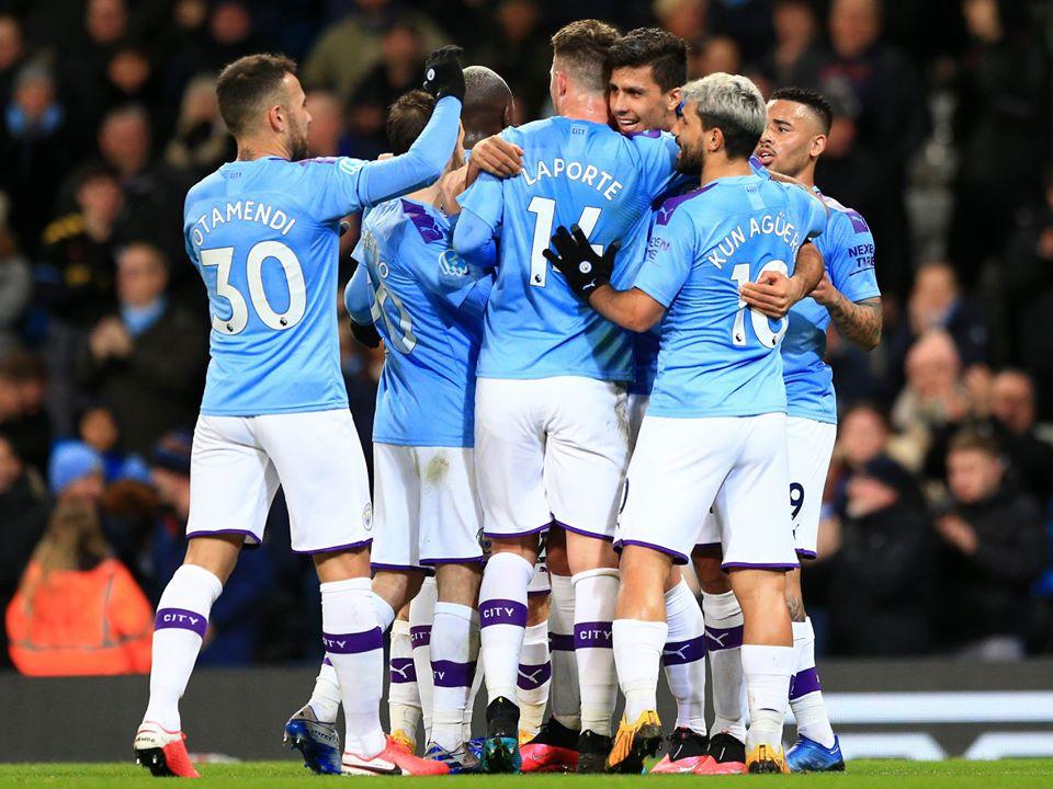 Les joueurs de Manchester City lors de la victoire du club (2-0) contre West Ham, le mercredi 19 février 2019.