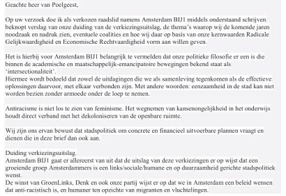 fragment brief Sylvana Simons aan informateur Maarten van Poelgeest
