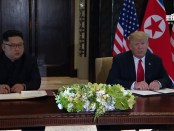 Ondertekening van de Declaration of Friendship door Donald Trump en Kim Jong-Un