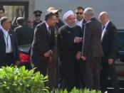 Aankomst president Rouhani van Iran in Wenen voor het overleg met EU over Iran-deal (4 juli 2018).