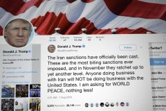 Tweet Donald Trump over sancties Iran.