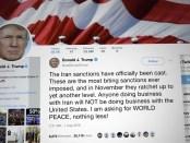 Tweet Donald Trump over sancties Iran.