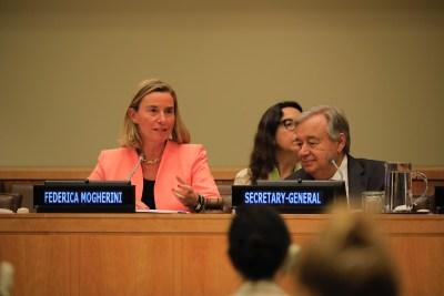 EC-kopstuk Federica Mogherini naast VN Secretaris-Generaal Guterres (27 september 2018)