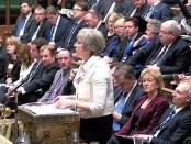 Theresa May in het Britse Lagerhuis (14 januari 2019)