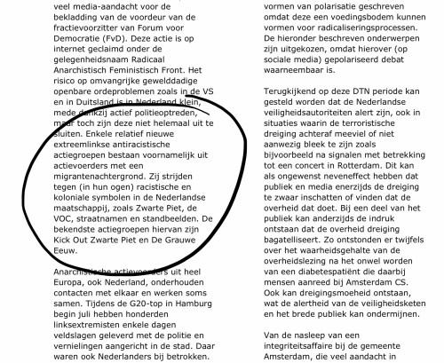 Fragment uit NCTV rapport Dreigingsbeeld Terrorisme Nederland 46