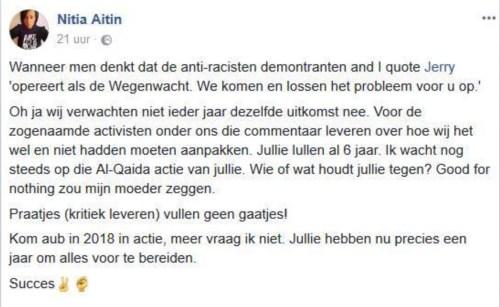 FB-post van Nitia Aitin (november 2017)
