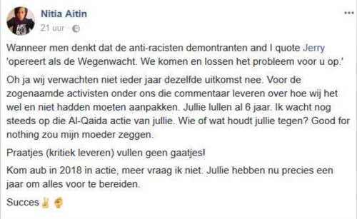 FB-post van Nitia Aitin (november 2017)