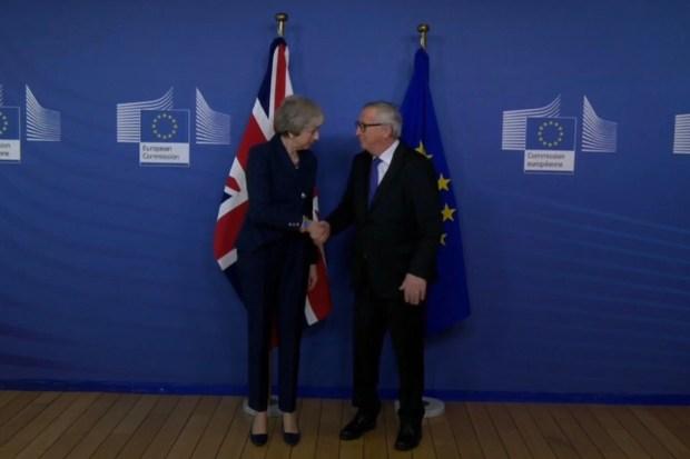 Theresa May en Jean-Claude Juncker in Brussel (7 februari 2019)