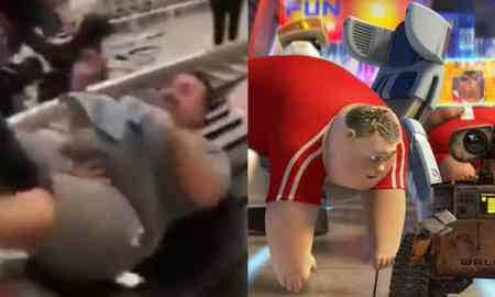 Fat Man pushed onto Lugagge carousel conveyor belt airport walle