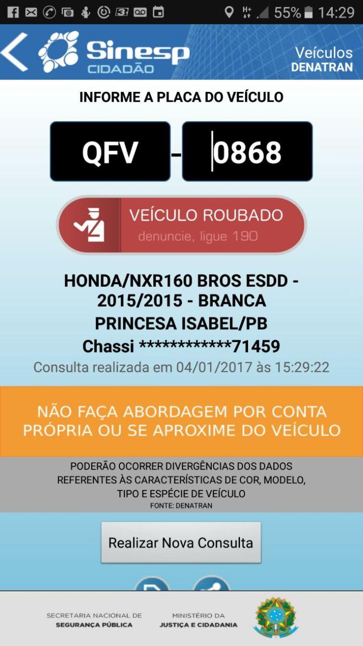 sinesp-moto-roubada Moto roubada é recuperada pela Polícia em Monteiro