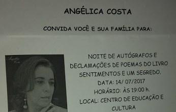 Poetisa Angélica Costa lançará livro neste dia 7 de julho em Camalaú 2