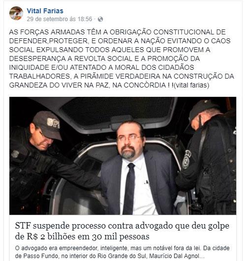 VITAL-1 Vital Farias defende intervenção militar no Brasil