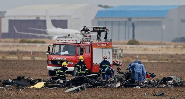 spain-miltary-jet-cra-fran Avião militar cai perto de Madri e piloto morre