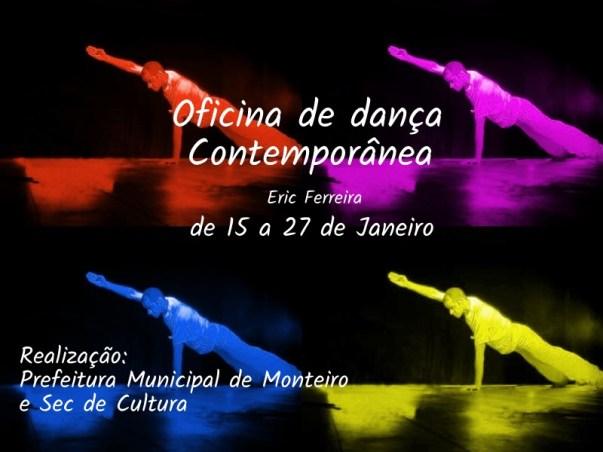 Oficina Secretaria de Cultura de Monteiro oferece Oficina de Dança Contemporânea no Teatro Jansen Filho