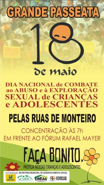 f51cc098-aed4-4172-8f8c-e86e3c089a90 Grande passeata em Monteiro amanhã contra a exploração e abuso sexual de crianças e adolescentes