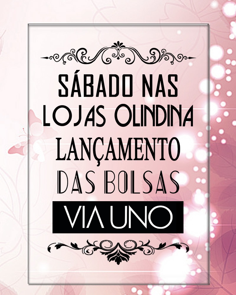 04ae96ee-f652-49c1-99f8-a5b2dcdcce54 LANÇAMENTO: Sábado nas lojas Olindina, haverá lançamento de bolsas da marca Viauno