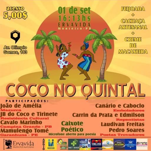 40353153_1731036027000329_5130961686366257152_n É Sábado! Coco no Quintal em Monteiro