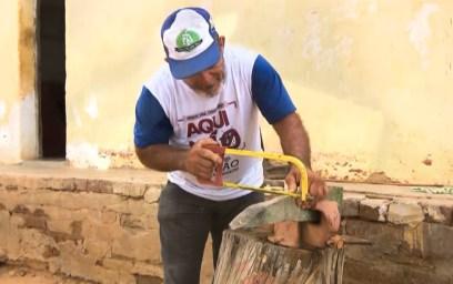 Agricultor caririzeiro usa madeira umburana para esculpir ferramentas em miniaturas 1