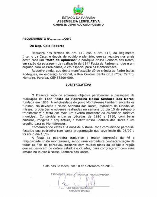 70277515_546467795913700_4189198503655768064_n-520x650 Deputado Caio Roberto faz requerimento de voto de aplausos para a Pns Das Dores em Monteiro