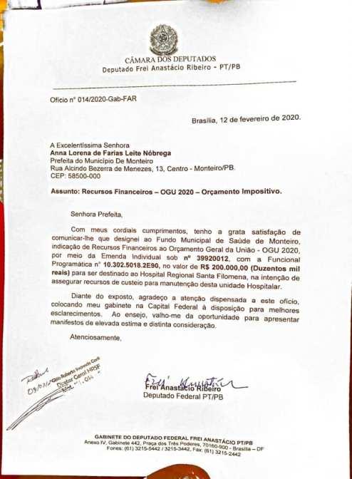 88968319_2805757019544734_4845976424294645760_n-294x400 Frei Anastácio confirma emenda de R$ 200 mil para Hospital regional de Monteiro.