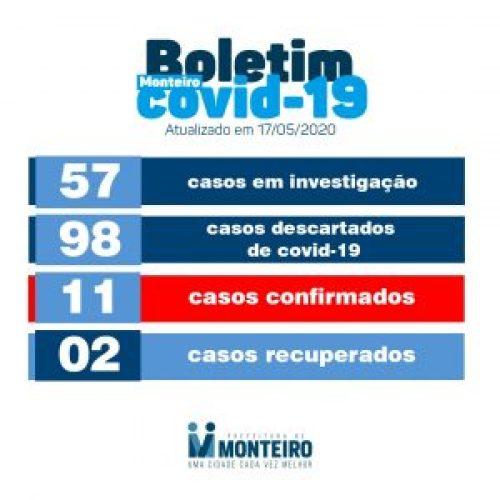 bo17 Secretaria de Saúde divulga novo boletim e Monteiro segue sem registrar novos casos de COVID-19: