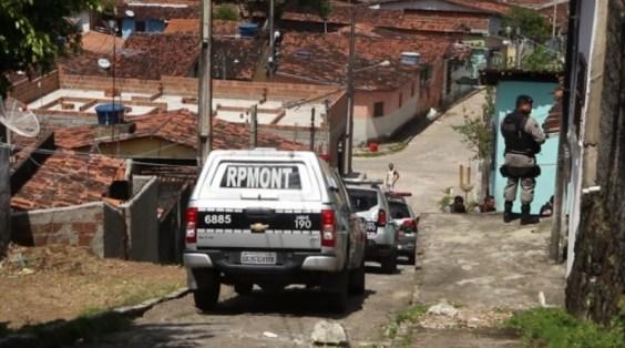 rpmont Polícia Militar resgata sete cães pitbulls em casa usada como 'rinha', no bairro do Cristo Redentor, na capital